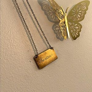 Vintage Brass Te Amo Plate Necklace